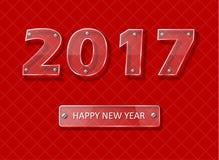 Nuovo anno 2017 - progettazione di vettore del vetro trasparente Immagine Stock Libera da Diritti