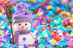 Nuovo anno 2016 Pupazzo di neve felice, decorazione del partito Fotografia Stock Libera da Diritti