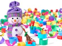 Nuovo anno 2016 Pupazzo di neve felice, decorazione del partito Fotografia Stock