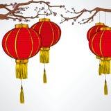Nuovo anno rosso cinese di Lanter Immagine Stock