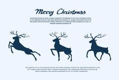 Nuovo anno Santa Deer di Natale della siluetta della renna Immagini Stock