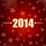 Nuovo anno 2014 sopra retro fondo rosso con le stelle Immagine Stock
