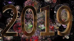 Nuovo anno 2019 su un fondo dei fuochi d'artificio Concetto di nuovo anno Fondo variopinto del fuoco d'artificio 4k illustrazione di stock