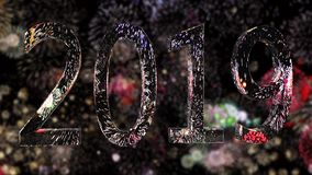 Nuovo anno 2019 su un fondo dei fuochi d'artificio Concetto di nuovo anno Fondo variopinto del fuoco d'artificio 4k illustrazione vettoriale