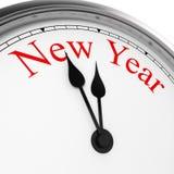Nuovo anno su un orologio Fotografie Stock Libere da Diritti