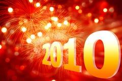 Nuovo anno su una priorità bassa rossa con gli indicatori luminosi illustrazione vettoriale