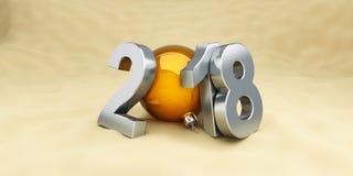 Nuovo anno 2018 sul beach ball su un'illustrazione bianca del fondo 3D, rappresentazione 3D Fotografia Stock Libera da Diritti