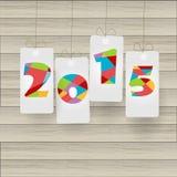Nuovo anno 2015 sul taglio della carta illustrazione di stock