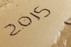 Nuovo anno 2015 sulla sabbia Fotografia Stock Libera da Diritti