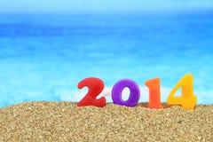 Nuovo anno 2014 sulla spiaggia Fotografie Stock Libere da Diritti
