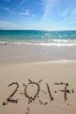 Nuovo anno 2017 sulla spiaggia Fotografia Stock Libera da Diritti