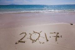 Nuovo anno 2017 sulla spiaggia Fotografia Stock