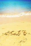 Nuovo anno sulla spiaggia Fotografia Stock Libera da Diritti