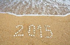 Nuovo anno sulla spiaggia del mare Fotografia Stock Libera da Diritti