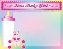 Nuovo annuncio di arrivo della neonata Immagini Stock Libere da Diritti