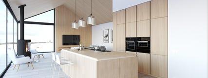 Nuovo appartamento scandinavo moderno del sottotetto rappresentazione 3d royalty illustrazione gratis