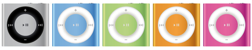 Nuovo Apple iPod Shuffle multicolore Fotografie Stock