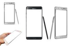 Nuovo in bianco della nota 7 della galassia di Samsung isolato fotografia stock
