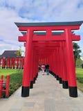Nuovo castello di viaggio di stile giapponese della terra di Hinoki del posto fatto dal legno di Hinoki fotografie stock libere da diritti