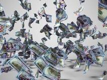 Nuovo cento dollari di banconote che cadono sul pavimento 3d per rendere su fondo grigio con ombra illustrazione di stock