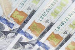 Nuovo cento primi piani della banconota in dollari Fotografia Stock Libera da Diritti