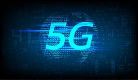 nuovo collegamento a Internet senza fili 5G con il globo e le cifre astratti royalty illustrazione gratis