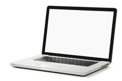 Nuovo computer portatile con lo schermo bianco su una priorità bassa bianca Immagine Stock