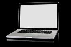 Nuovo computer portatile con lo schermo bianco su una priorità bassa nera Immagine Stock