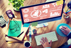 Nuovo concetto di affari globali di lavoro di squadra dell'innovazione del grafico di affari Fotografie Stock