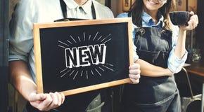 Nuovo concetto di promozione della pubblicità del segno Fotografie Stock Libere da Diritti