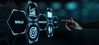 Nuovo concetto di tecnologia di Internet di affari di addestramento di Webinar di conoscenza di abilità fotografie stock