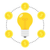 Nuovo concetto piano dell'icona dei soldi e di idea Immagini Stock