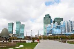 Nuovo distretto aziendale nella capitale del Kazakistan, Astana Immagine Stock Libera da Diritti