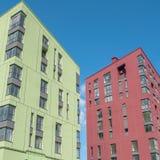 Nuovo edificio residenziale a più piani, costruzione, nei precedenti Fotografie Stock Libere da Diritti