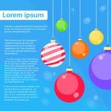 Nuovo felice della cartolina d'auguri della decorazione delle palle di Natale illustrazione di stock