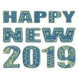 Nuovo 2019 felice Disegno della mano, isolato, iscrizione, tipografia, fonte che elabora, scarabocchio Progettato per i manifesti illustrazione di stock