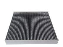 Nuovo filtro dal condizionatore d'aria dell'automobile del carbonio isolato sul backgrou bianco Fotografie Stock