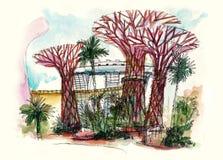 Nuovo giardino del punto di riferimento di Singapore dalla baia Immagine Stock