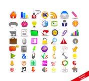 Nuovo insieme con 56 icone variopinte Fotografia Stock Libera da Diritti