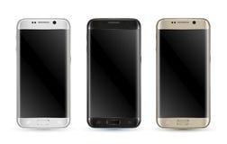 Nuovo insieme perfettamente dettagliato di isolamento degli smartphones illustrazione di stock
