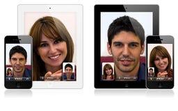 Nuovo iPad 2 del Apple e chiamare di iPhone 4 video Immagini Stock