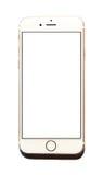 Nuovo iPhone 6 di Apple con lo schermo bianco isolato Fotografia Stock Libera da Diritti
