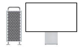 Nuovo Mac Pro con l'esposizione della retina 6K illustrazione di stock