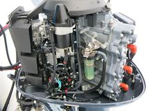 Nuovo motore fuoribordo Yamaha 200 HP fotografia stock libera da diritti