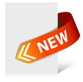 Nuovo nastro d'angolo rosso - freccia Immagini Stock