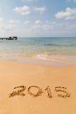 Nuovo nel 2015 sulla spiaggia Fotografia Stock