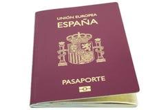 Nuovo passaporto spagnolo, scatola leggera fotografie stock libere da diritti