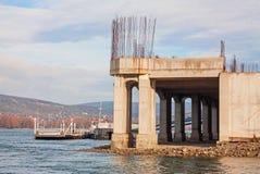 Nuovo porto fluviale in costruzione Fotografia Stock Libera da Diritti