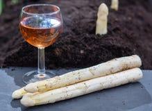 Nuovo raccolto di asparago bianco di verdure in vino rosato di glas e di stagione primaverile, teste bianche di asparago che cres fotografia stock