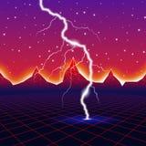 Nuovo retro paesaggio al neon del computer dell'onda con fulmine Fotografia Stock